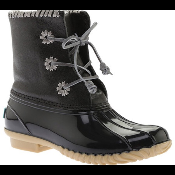 0f484d3b62d Jack Rogers Chloe Metallic Black Duck Boots - 8 NWT